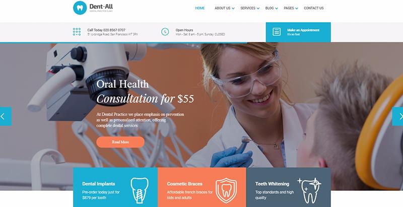 Temas de 10 WordPress para crear un sitio web de dentistas | BlogPasCher